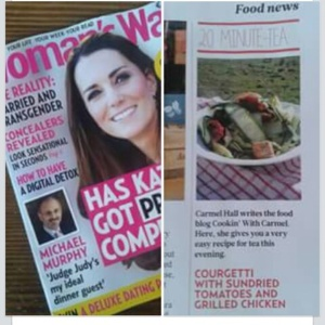 My courgetti with sundried tomato and grilled chicken was featured in the June 16th edition of Woman's Way. It's a must try! c.hall 2015